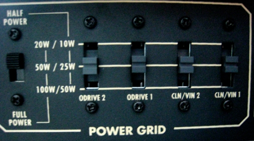 todos los canales ajustados a 25 watts