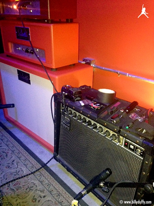 """""""This is kind of a compact mini rig for pre production and basically it's a Roland JC-77 which is a like my JC-120 but smaller with two 10 inch speakers. The amp next to it is from a San Diego company called Satellite and it's was cool too….. more about them later once I use them on the album…."""""""