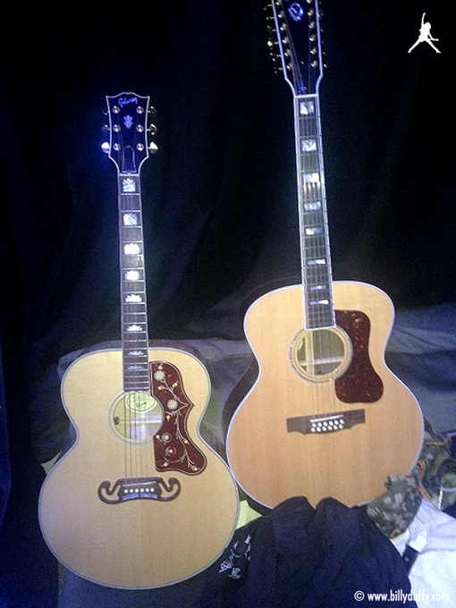 """My Acoustics… the Gibson J-200 I got when I hiked up the Empire State Building for Mike Peter's Love Hope Strength charity a few years back and Guild F-412 Jumbo 12 string I got recently through a Fender hook up."""