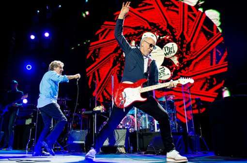 LONDON, UNITED KINGDOM - MARCH 23: Roger Daltrey and Pete Townshend of The Who perform at The O2 Arena on March 23, 2015 in London, England. (Photo by Neil Lupin/Redferns via Getty Images)